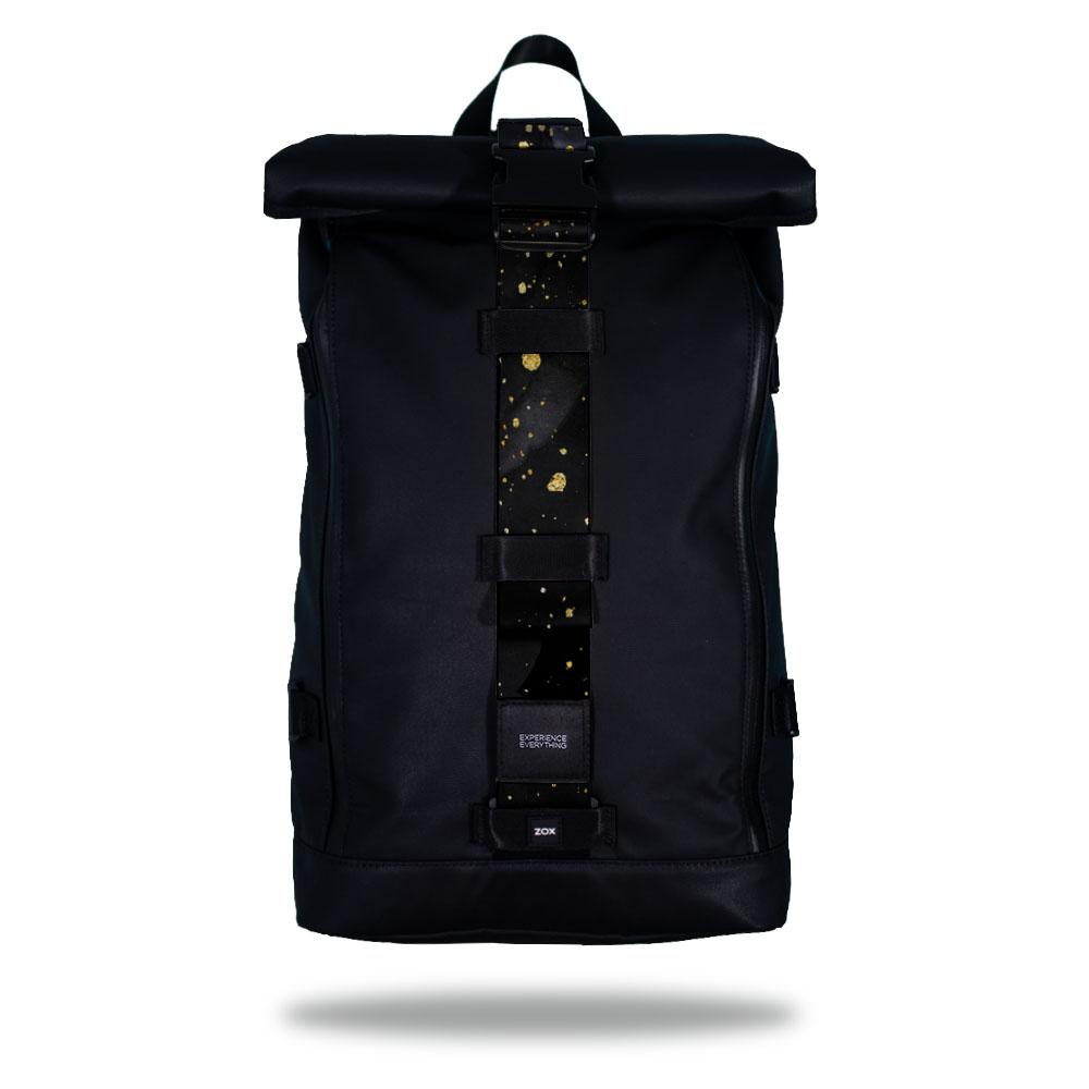 Product image of an Imperial backpack showing a wide strap down the center of it that is interchangeable. The closure strap the item that is for sale on this page and is called Midas and as a black and grey background with little gold speckles on top of it.