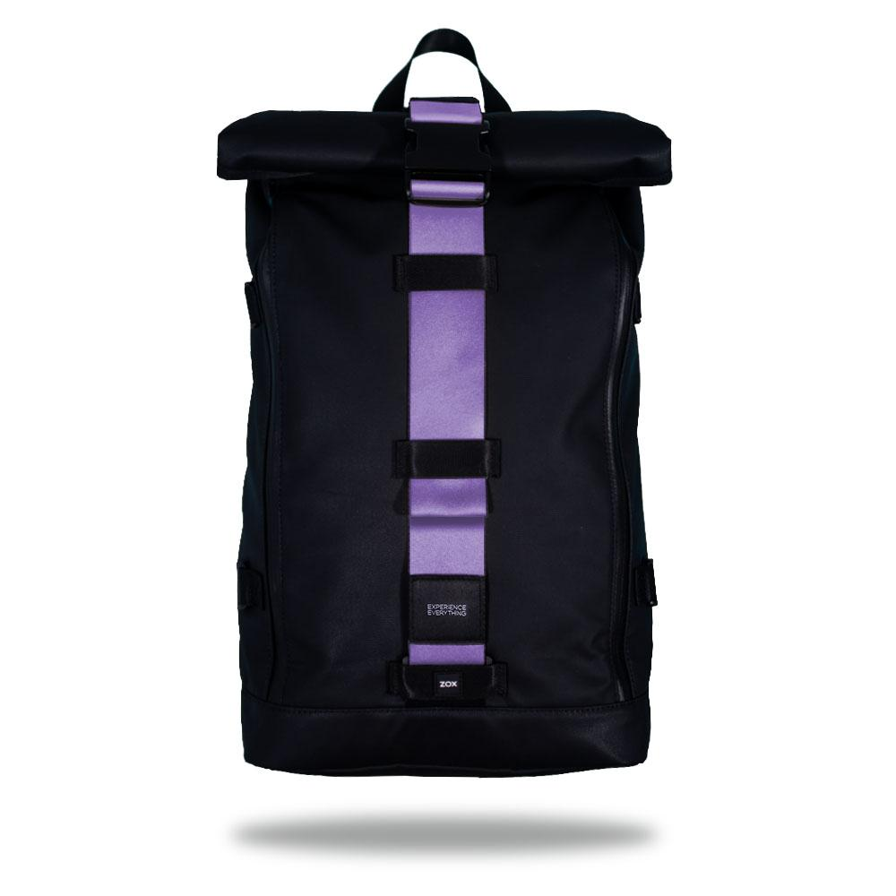 Product image of an Imperial backpack showing a wide strap down the center of it that is interchangeable. The closure strap the item that is for sale on this page and is called Grape Wave and is a sold lighter purple color