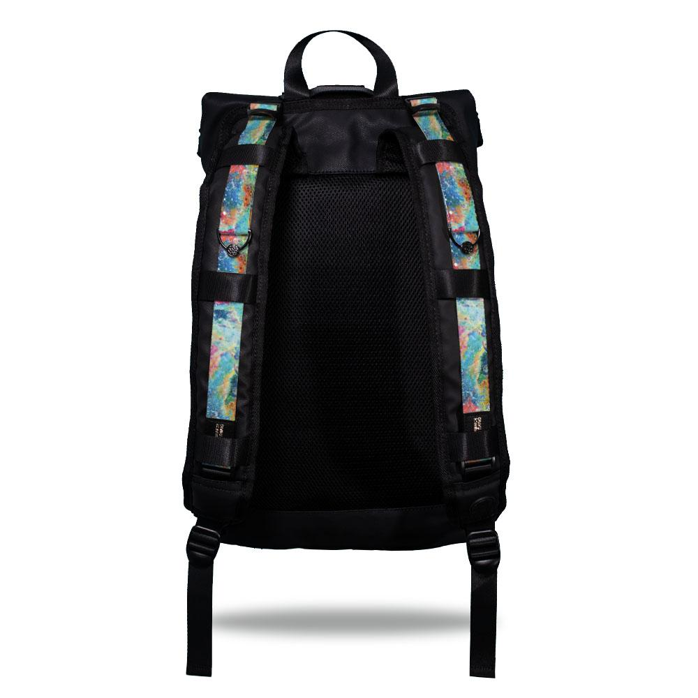Product image show the back of an Imperial backpack with  two should straps showing with interchangeable straps. The tension strap the item that is for sale on this page and is called I Got This and is a splatter paint design with colors such as blues, greens, pinks, and oranges