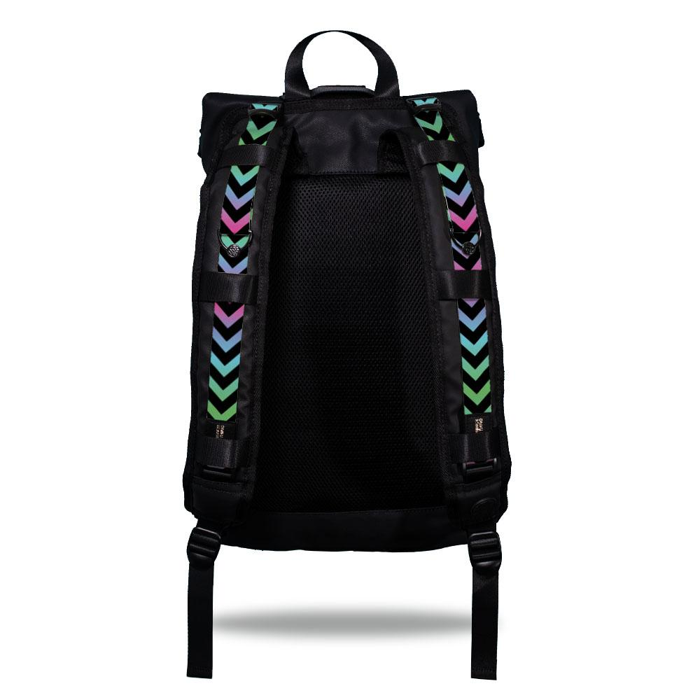 Product image show the back of an Imperial backpack with  two should straps showing with interchangeable straps. The tension strap the item that is for sale on this page and is called Swagger Jacker. The design is arrows that are black with gradient arrows in between the black ones. The gradient is blue, green, pink, purple