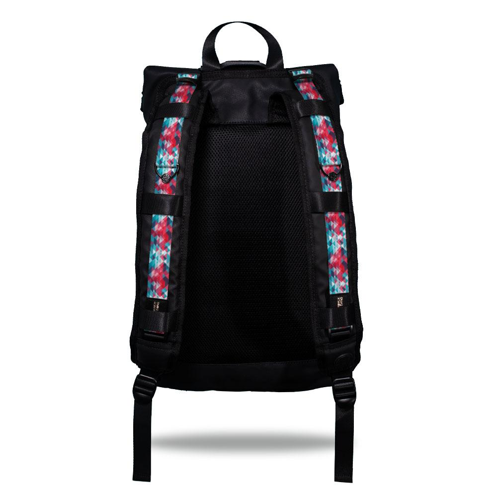 Product image show the back of an Imperial backpack with  two should straps showing with interchangeable straps. The tension strap the item that is for sale on this page and is called brave and is a pink, light blue and darker blue triangle geometric pattern