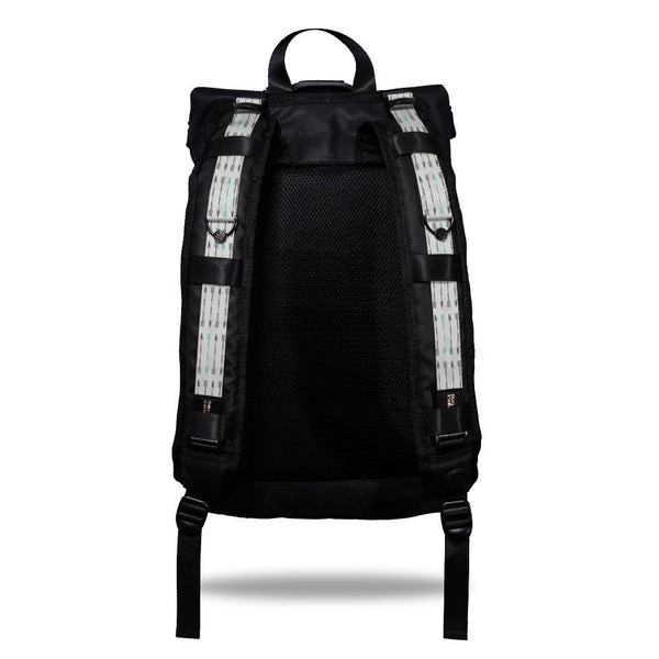 Product image show the back of an Imperial backpack with  two should straps showing with interchangeable straps. The tension strap the item that is for sale on this page and is called Never Give Up and is a light grey, grey, geometric design with darker grey arrows with a green arrow every so often on the top of the design