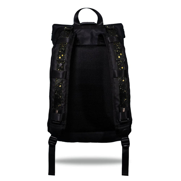 Product image show the back of an Imperial backpack with  two should straps showing with interchangeable straps. The tension strap the item that is for sale on this page and is called Miadas and is mainly solid black and grey in the background with gold colored paint speckles on the front of the design