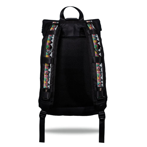 Product image show the back of an Imperial backpack with  two should straps showing with interchangeable straps. The tension strap the item that is for sale on this page and is called Mountains To Molehills and is a geometric mountain range made of triangles with colors such as grey, red, orange, blue, green, and yellow