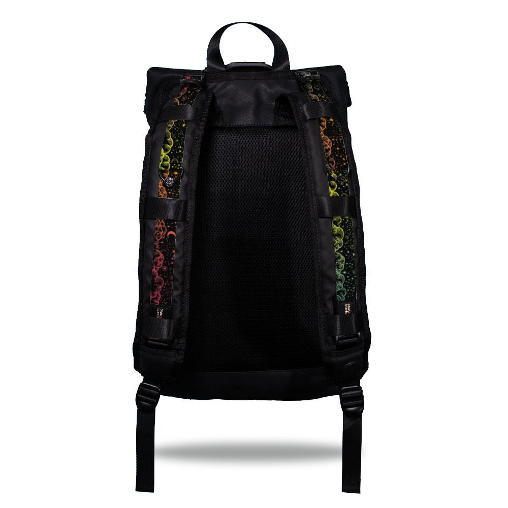 Product image show the back of an Imperial backpack with  two should straps showing with interchangeable straps. The tension strap the item that is for sale on this page and is called Stardust and is a hand drawn cloud design that the colors span the color spectrum. The image shows yellow, red, orange, blue and green