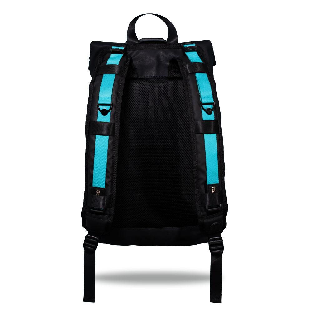 Product image show the back of an Imperial backpack with  two should straps showing with interchangeable straps. The tension strap the item that is for sale on this page and is called F&F Blue and is a solid light blue color