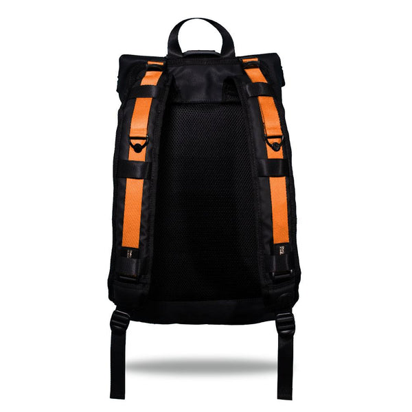 Product image show the back of an Imperial backpack with  two should straps showing with interchangeable straps. The tension strap the item that is for sale on this page and is called Sweet Sunburst and is a solid orange color