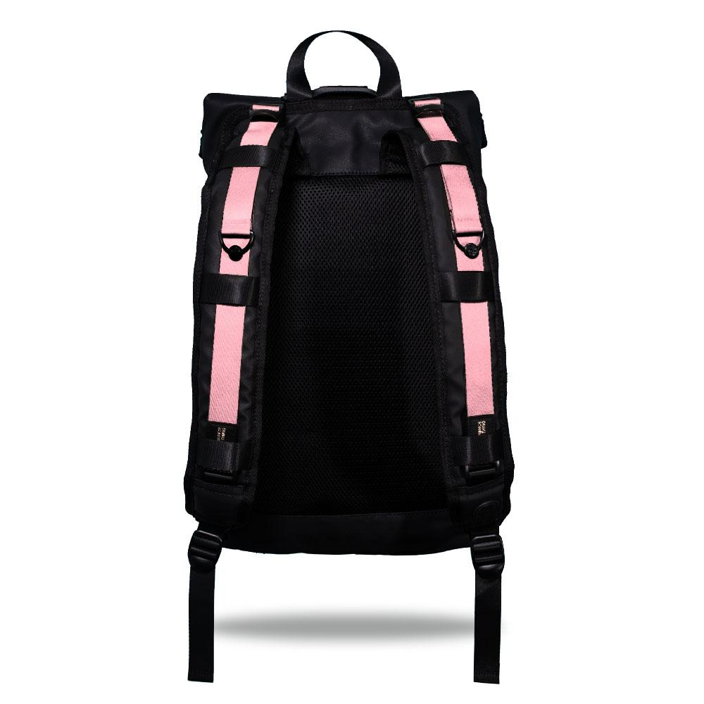 Product image show the back of an Imperial backpack with  two should straps showing with interchangeable straps. The tension strap the item that is for sale on this page and is called Passion Pink and is a solid light pink color