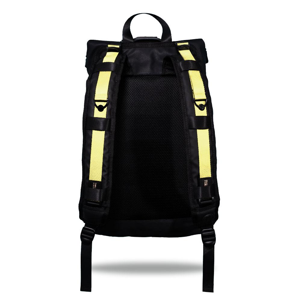 Product image show the back of an Imperial backpack with  two should straps showing with interchangeable straps. The tension strap the item that is for sale on this page and is called Canary Yellow and is a solid light yellow color