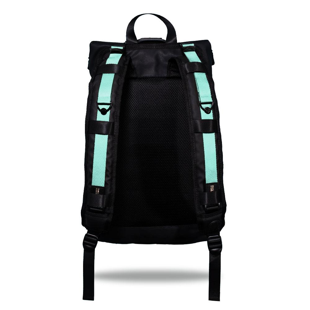 Product image show the back of an Imperial backpack with  two should straps showing with interchangeable straps. The tension strap the item that is for sale on this page and is called Seafoam Green and is a solid light green with blue hues color