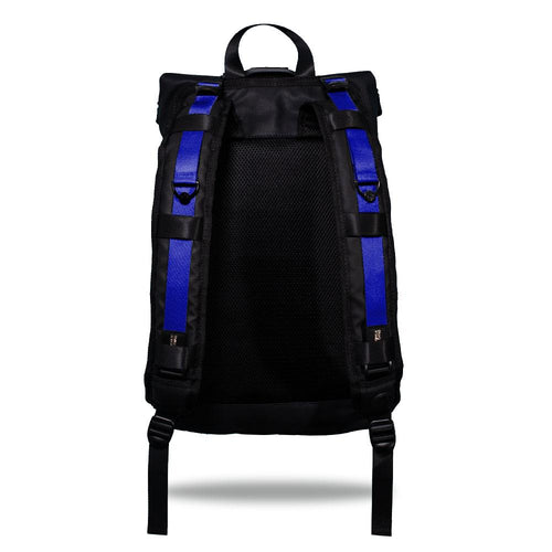 Product image show the back of an Imperial backpack with  two should straps showing with interchangeable straps. The tension strap the item that is for sale on this page and is called Ultraviolet and is a bright purple with royal blue hue