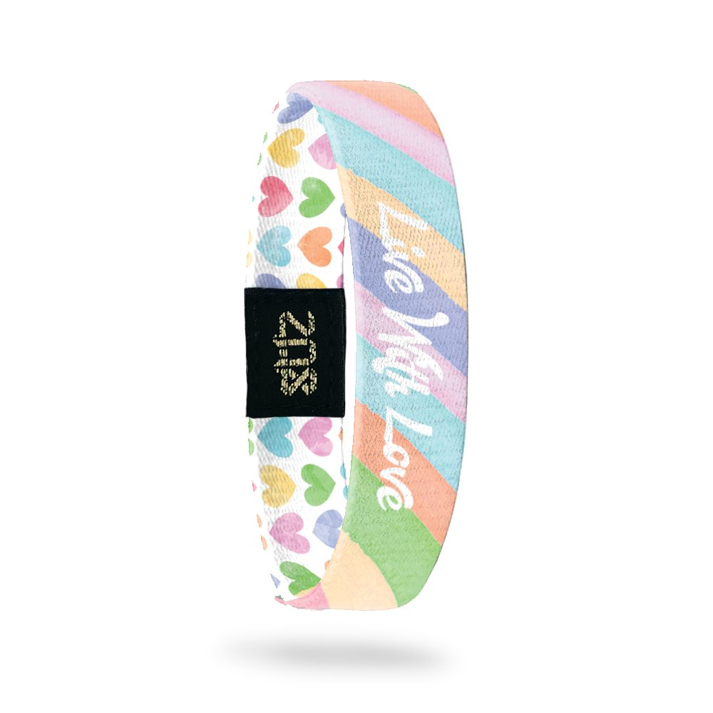 Product photo of inside design with italic white text live with love overlaying a pastel orange, yellow, pink, green, purple, and blue striped background