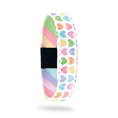 Product photo of outside design of live with love with rows of pastel orange, yellow, pink, green, purple, and blue gradient hearts over white background
