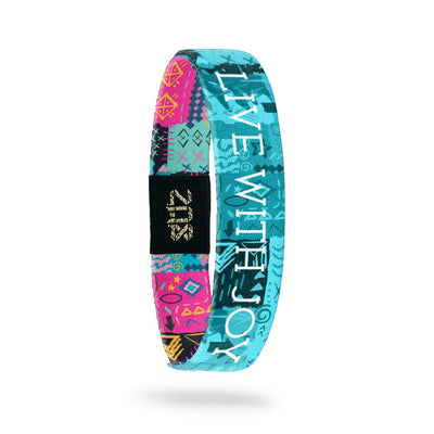 Product photo of inside design with white text live with joy overlaying a teal hand drawn geometric and abstract art background