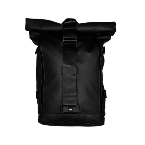 Product photo of an all black Imperial v2 backpack which is a roll top, where we can clearly see the front