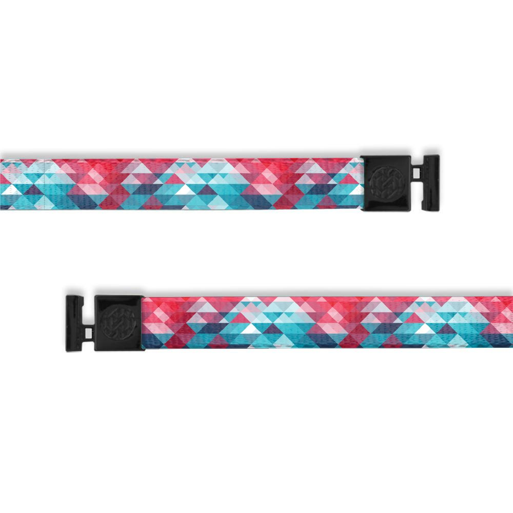 A product image of a wide and flat string with black metal aglets meant to be used with the ZOX hoodie. The string is called Brave and is a light blue and pink geometric design