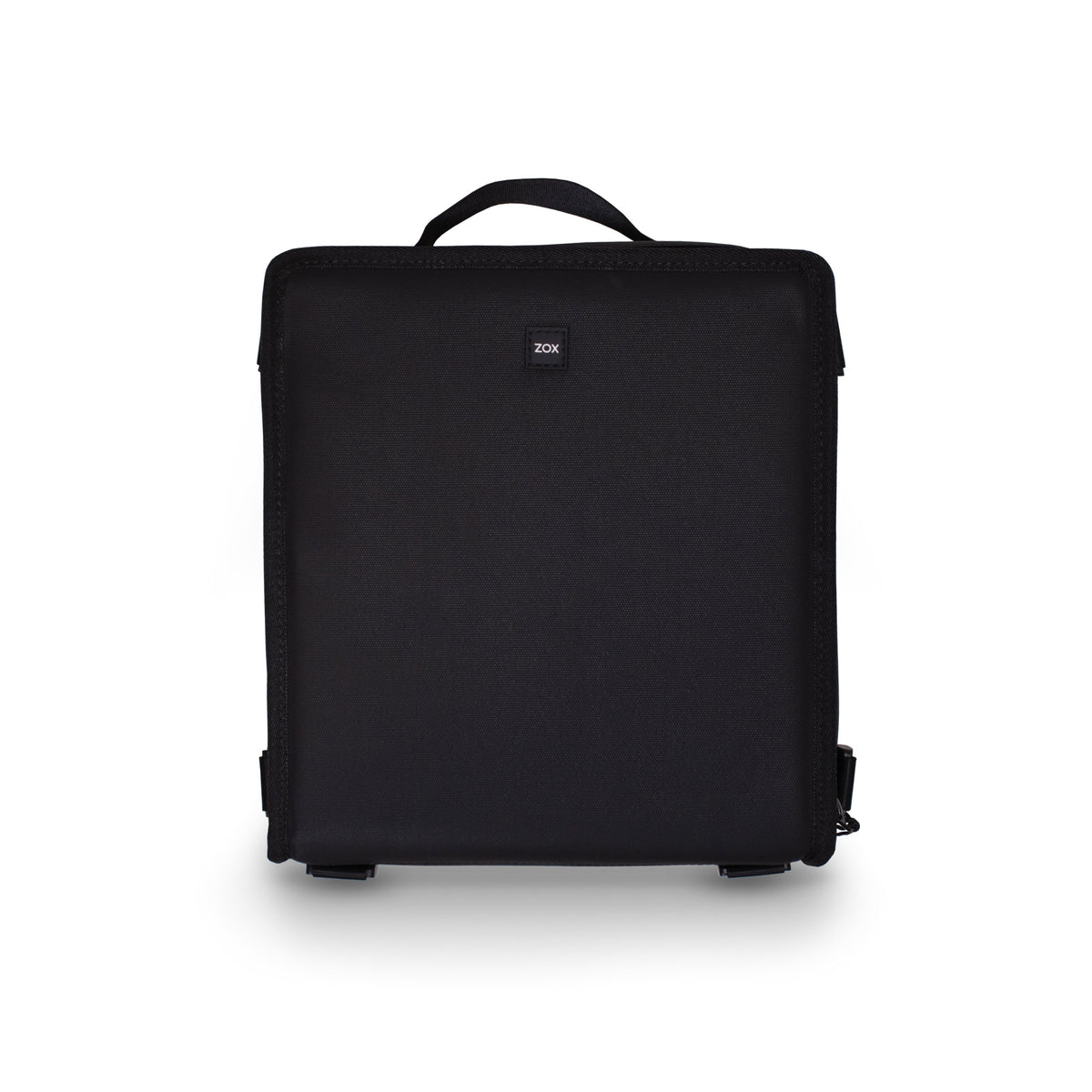 a product photo showing a black camera bag standing up so you see the outside of it