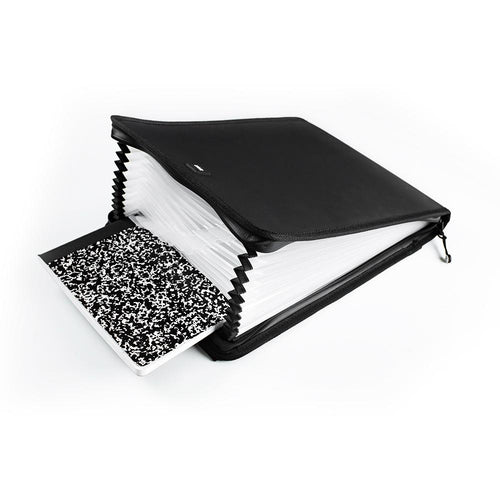 product image of an accordion binder opened up showing all the spaces to put documents. It is holding a notebook