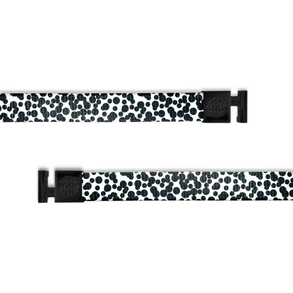 A product image of a wide and flat string with black metal aglets meant to be used with the ZOX hoodie. The string is called gifted and is a black and white design made up of dots