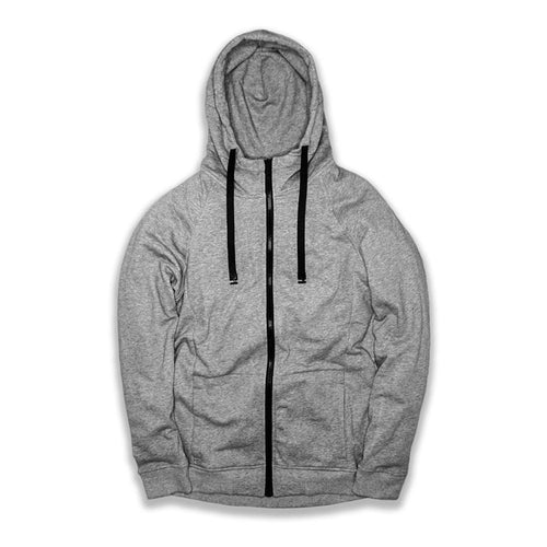 This is an image of a lunar gray zipper  Imperial hoodie that has black interchangeable strings going through the hood