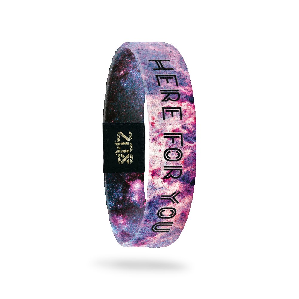 Inside Design of Here For You: purple, red, white, and pink galaxy design with black text overlaying 'Here For You'
