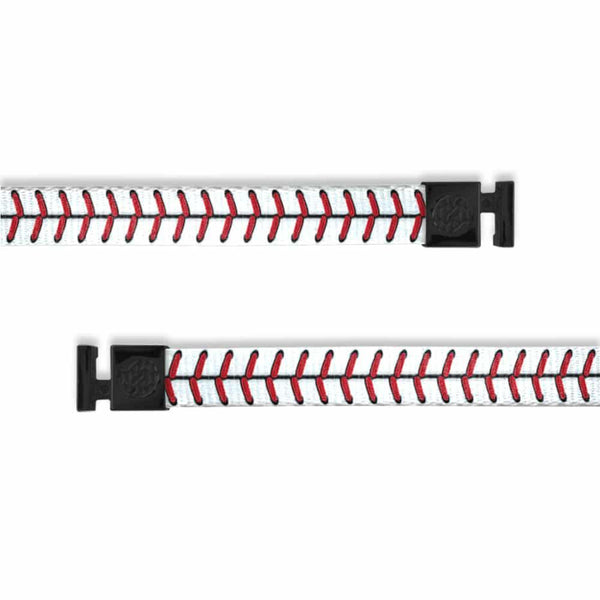 A product image of a wide and flat string with black metal aglets meant to be used with the ZOX hoodie. The string is called Home Run and is white and red to have the same appearance of a baseball