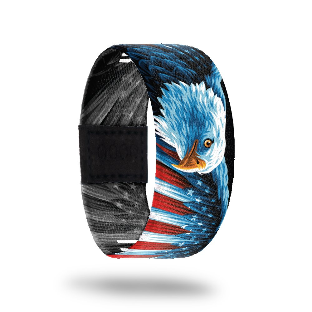 Outside design of I Do Solemnly Swear. Colorful illustration of bald eagle with the colors and pattern of the United States flag on it's wing