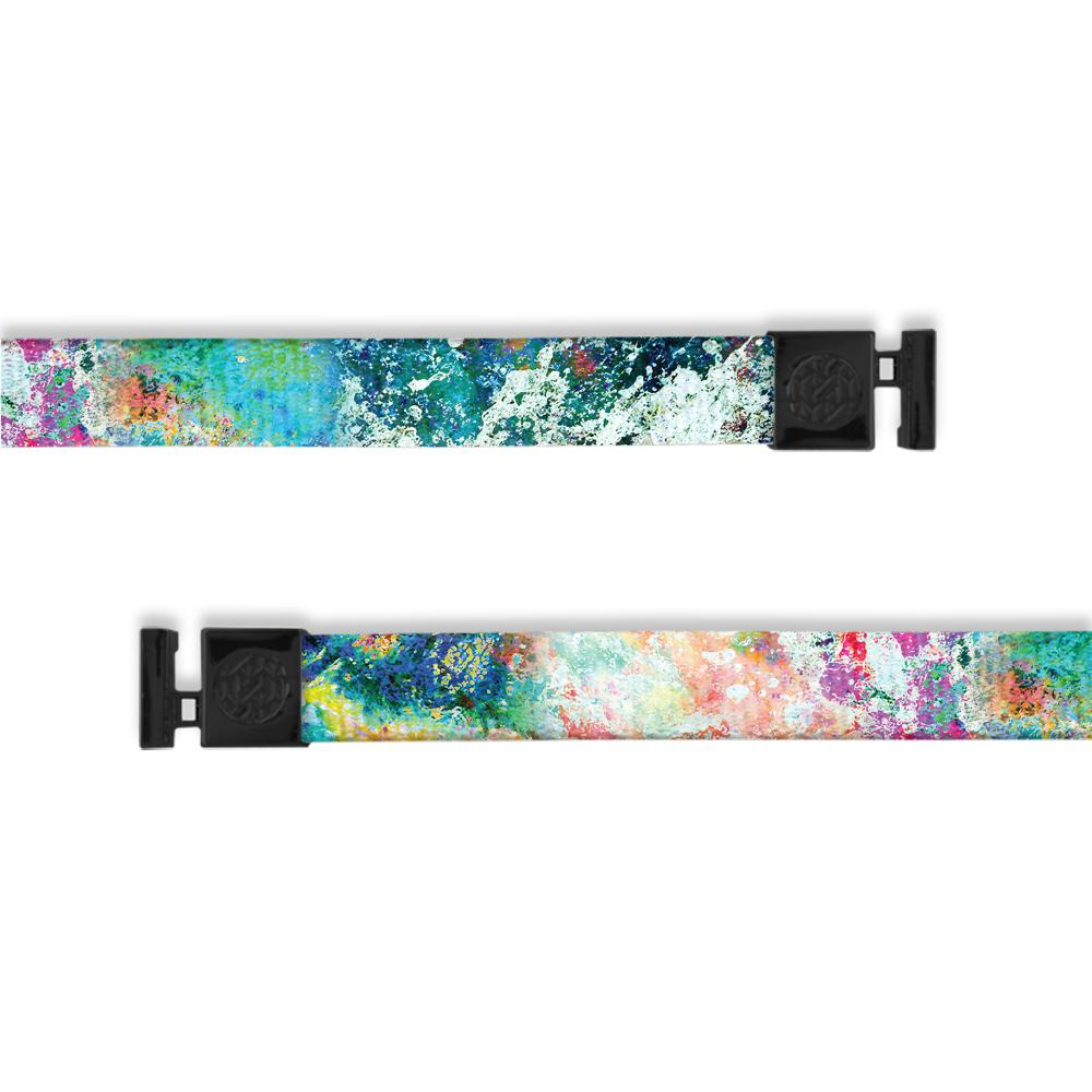 A product image of a wide and flat string with black metal aglets meant to be used with the ZOX hoodie. The string is called I got this and looks like a splatter paint image with a variety of colors that include different hues of blue, green, pink, purple, yellow, and orange