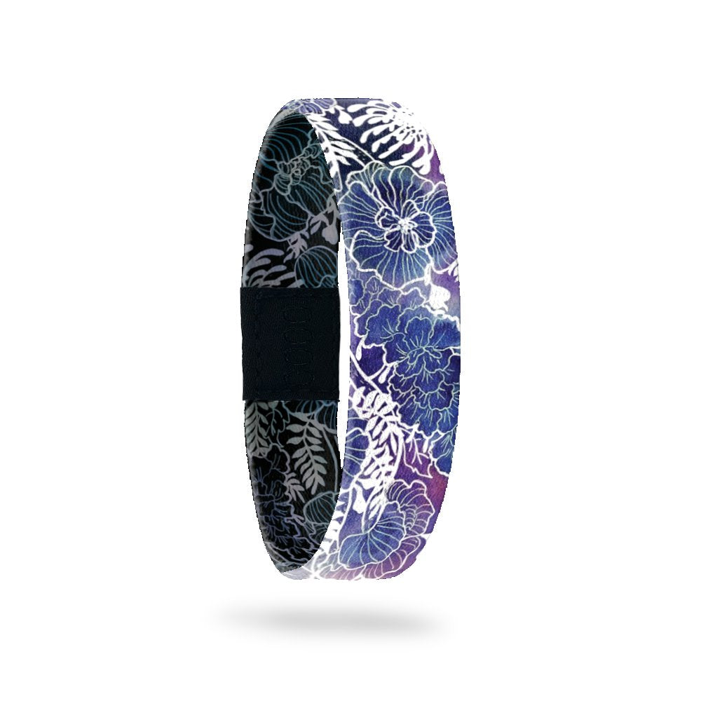 Outside Design of Keep Going: blue and purple background with white floral sketch overlayin
