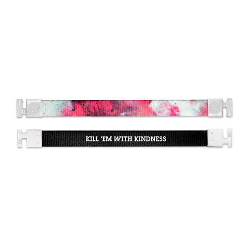 Shows outside and inside design for Kill 'Em With Kindness imperial with white aglet clasps. Top is the outside design with a blended background of white, dark pink, and light pink. Bottom is the inside design with a back background and Kill 'Em With Kindness centered in white text