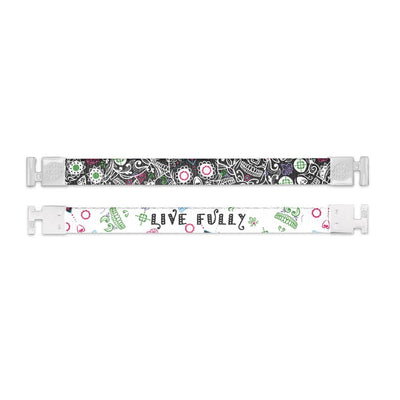 Shows outside and inside design for Live Fully imperial with white aglet clasps. Top is the outside design with a black background and layered sugar skulls in white, green, and pink. Bottom is the inside design with a white background and centered is Live Fully in black text