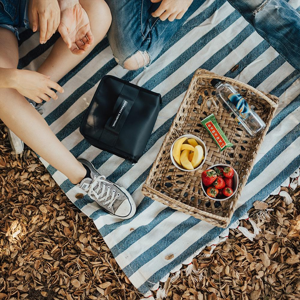 Lifestyle photo of a couple on a picnic with the lunch box capsule on the blanket