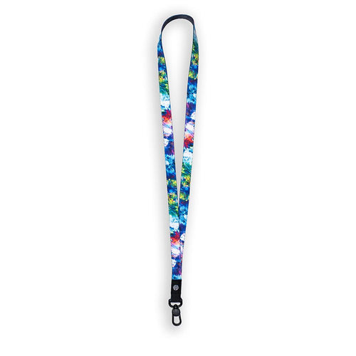 product image of a lanyard showing the outside of the design. It is an abstract design featuring greens, blues, purples, and pinks. It is called My Empire of Dirt