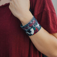 Lifestyle close up image of model's wrist wearing 2 Memento Mori straps