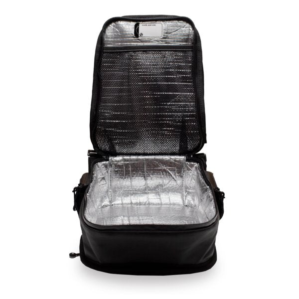 Product image of smaller backpack opened up showing the thermally insulated lining with separate lunchbox holder