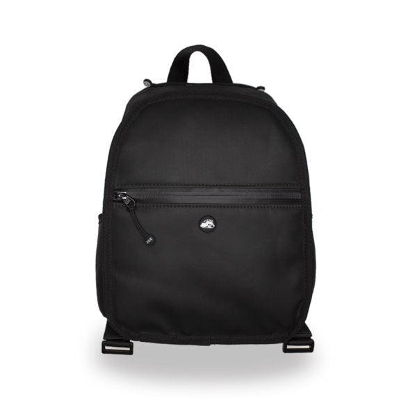 Product image of a smaller sized black backpack that is showing the front of it