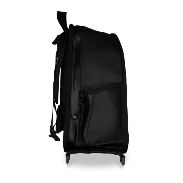 a side profile image of the smaller black backpack