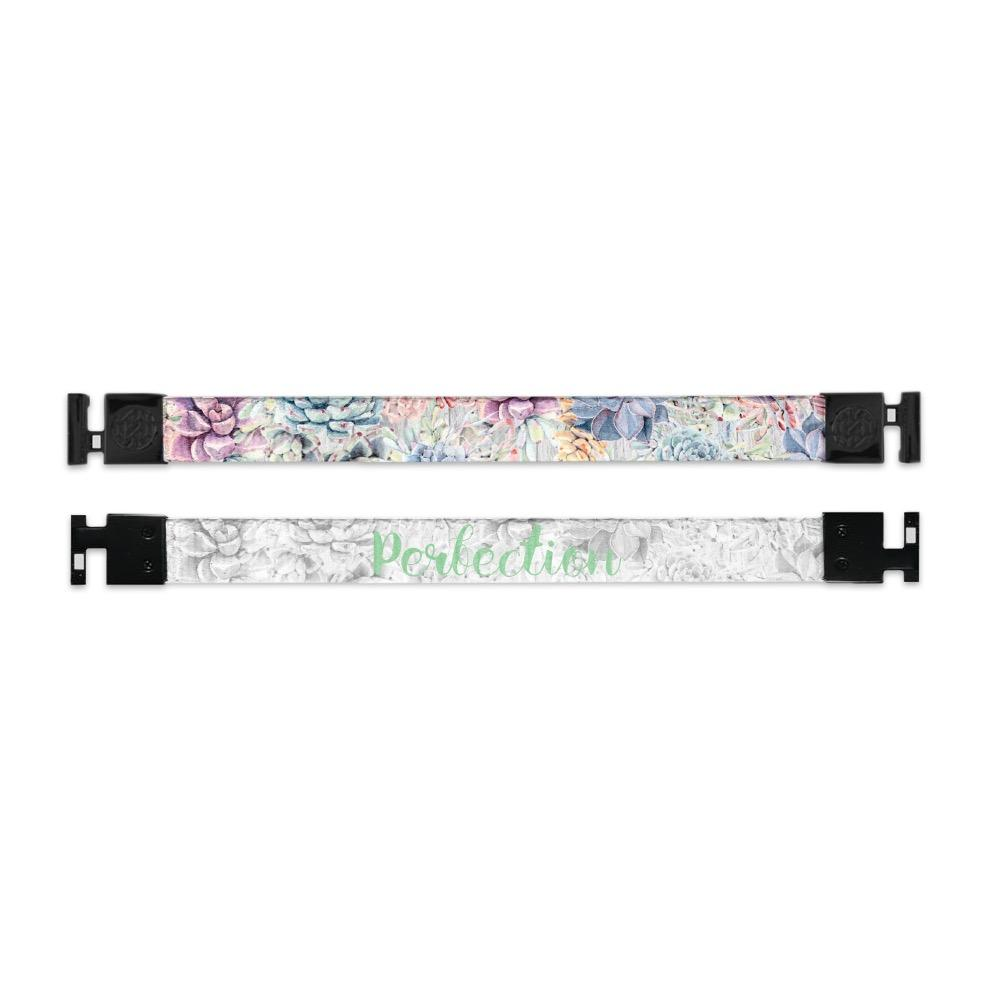 Shows outside and inside design for Perfection imperial with black aglet clasps. Top is the outside design, illustrated light color flowers all across. Bottom is the inside design  with a white background and Perfection centered in light green text