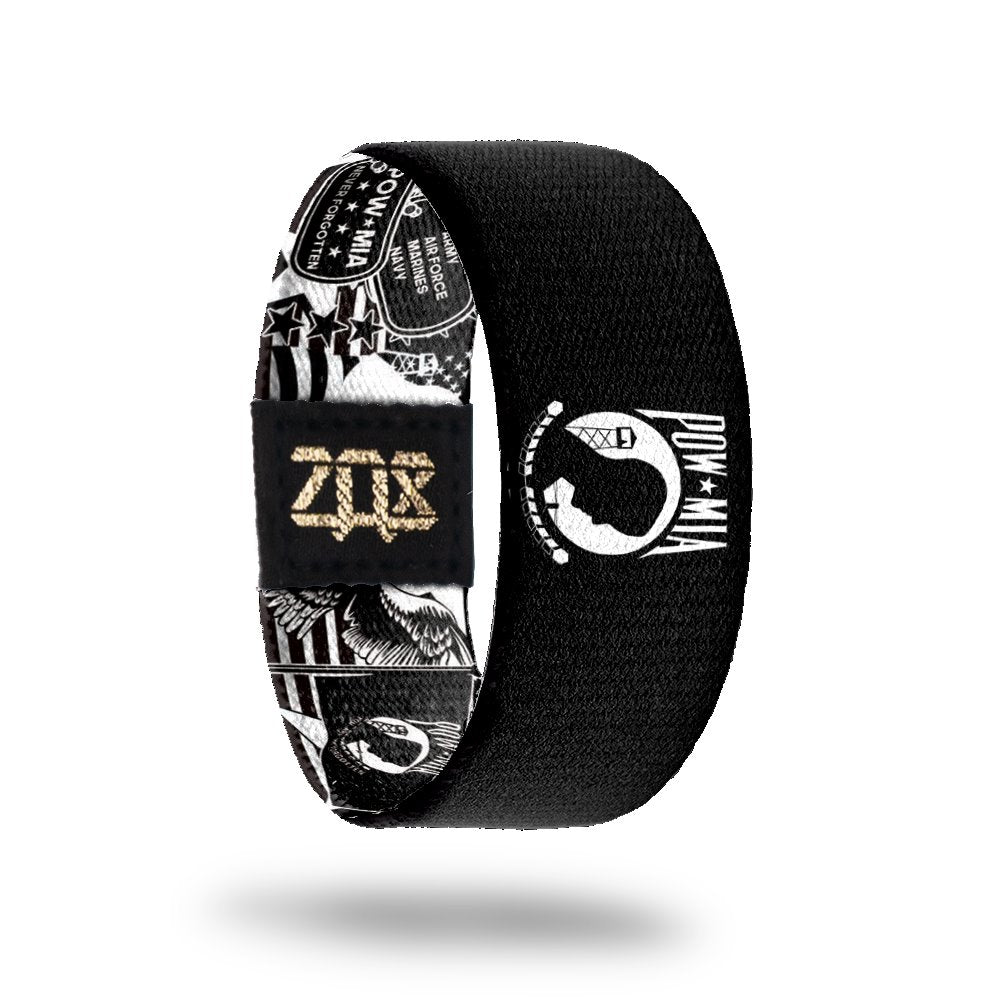 product image of the inside of a wristband design for POW MIA showing different military emblems