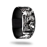 product image of the outside of a wristband design for POW MIA showing different military emblems