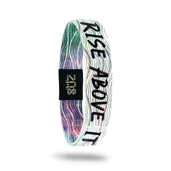 Product photo of inside design with bold black text rise above it overlaying a green, pink, purple and orange watercolor wave design over a white background