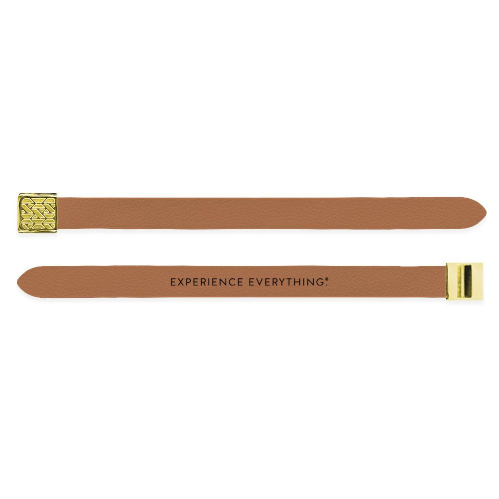 Outside Design of the V2 Imperial Tan Solid: vegan leather material with printed on tan background and gold buckle clasp. And Inside Design of the V2 Imperial Tan Solid: vegan leather material with printed on tan background with black text 'Experience Everything' and gold buckle clasp