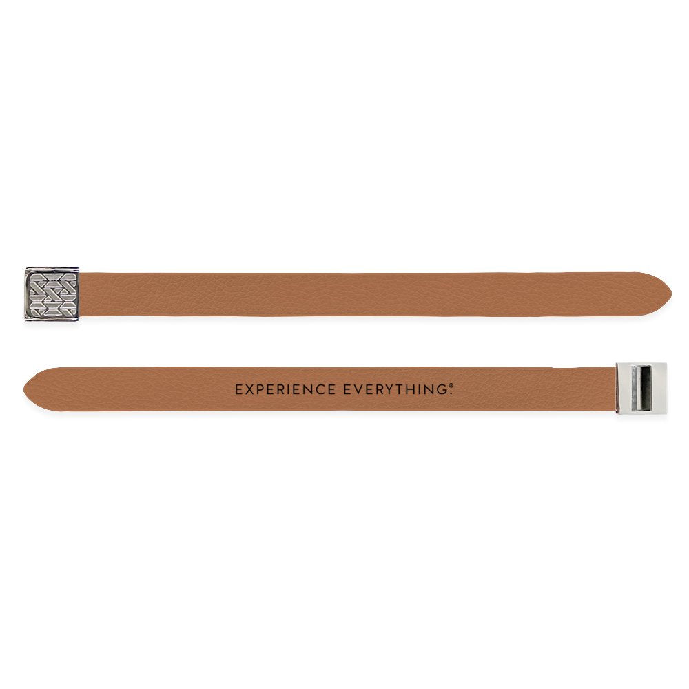 Outside Design of the V2 Imperial Tan Solid: vegan leather material with printed on tan background and silver buckle clasp. And Inside Design of the V2 Imperial Tan Solid: vegan leather material with printed on tan background with black text 'Experience Everything' and silver buckle clasp