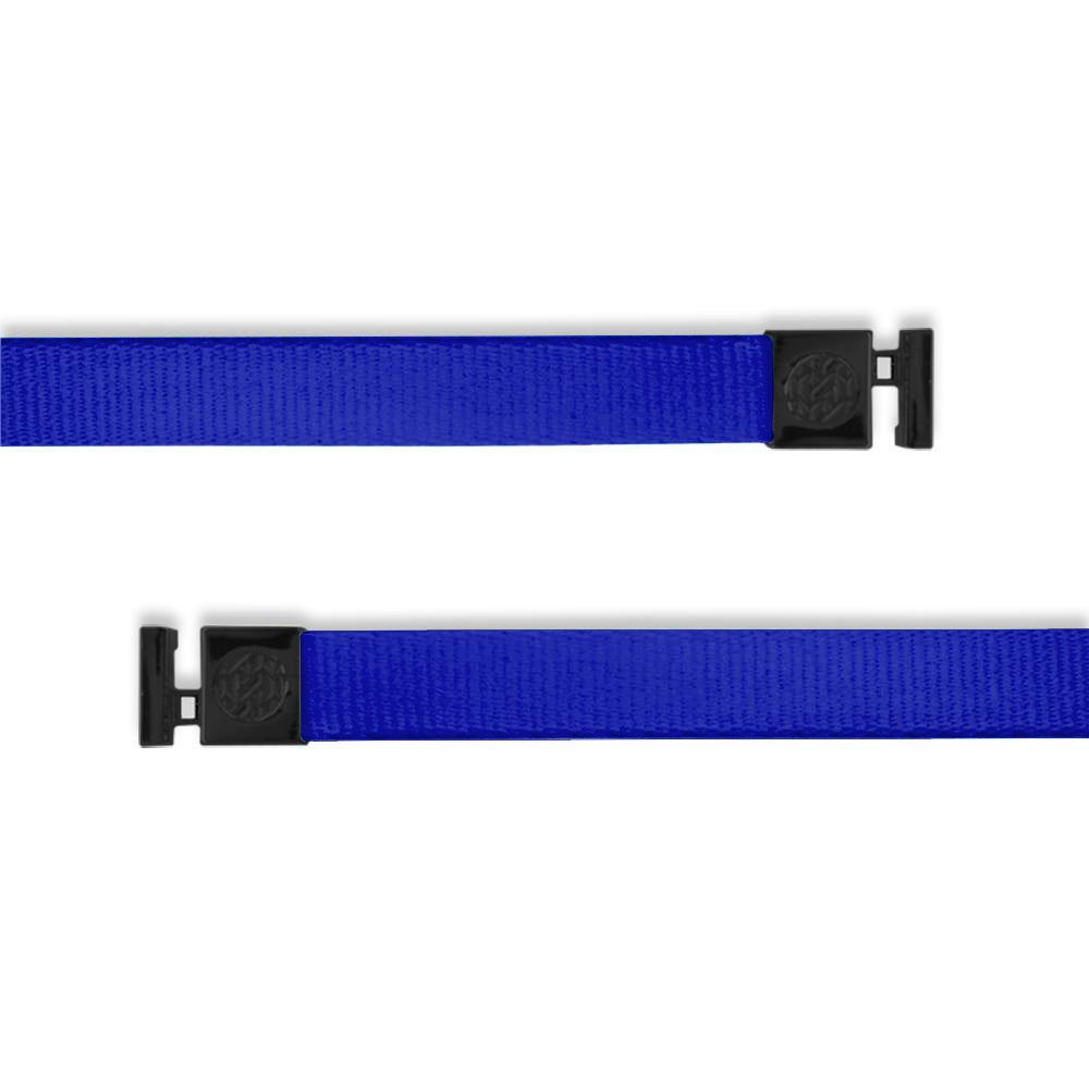 A product image of a wide and flat string with black metal aglets meant to be used with the ZOX hoodie. The string is called Ultraviolet and the design is a solid vibrant blue color that is nearly purple