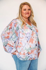 Striped Button Up Cardigan-Navy/Ivory Extended Sizes