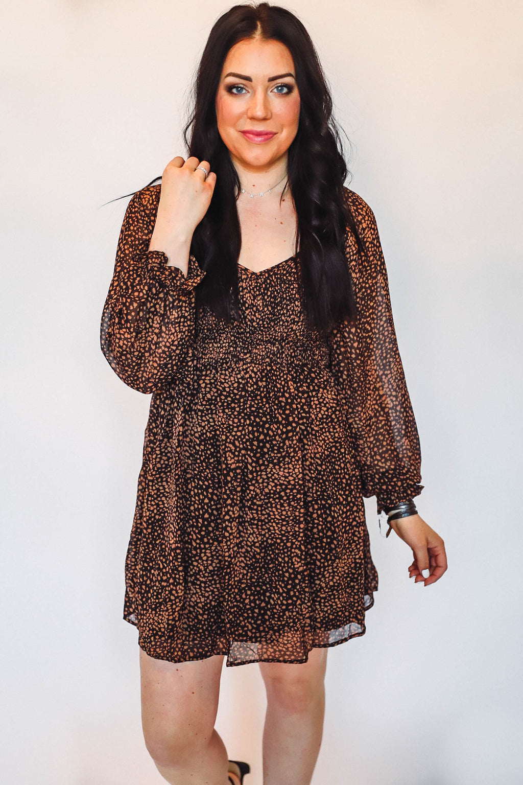 Distressed Leopard Crew Sweater