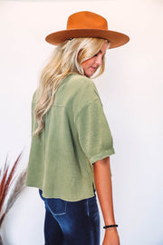 Twisted Striped Top-Grey