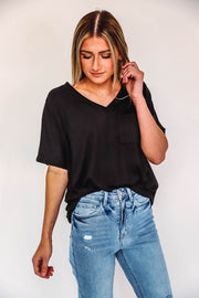 Karlie Color Block Top-Charcoal/Plum- Extended Sizes