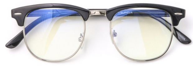 Sandy Blue Light Glasses-Black with Silver