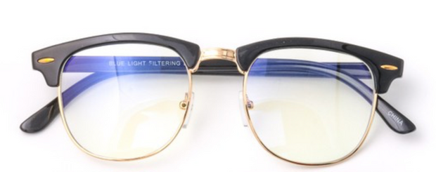 Sandy Blue Light Glasses-Black with Gold